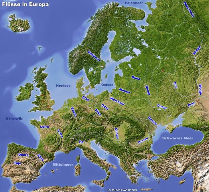 Flüsse in Europa - Karte der längsten Flüsse Europas