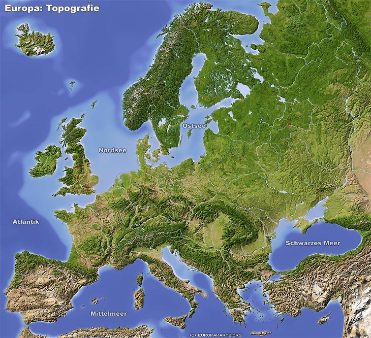 Europakarte Die Reliefkarte Von Europa Topografie