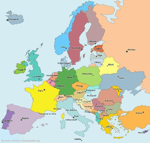 Europakarte - Die Karte von Europa
