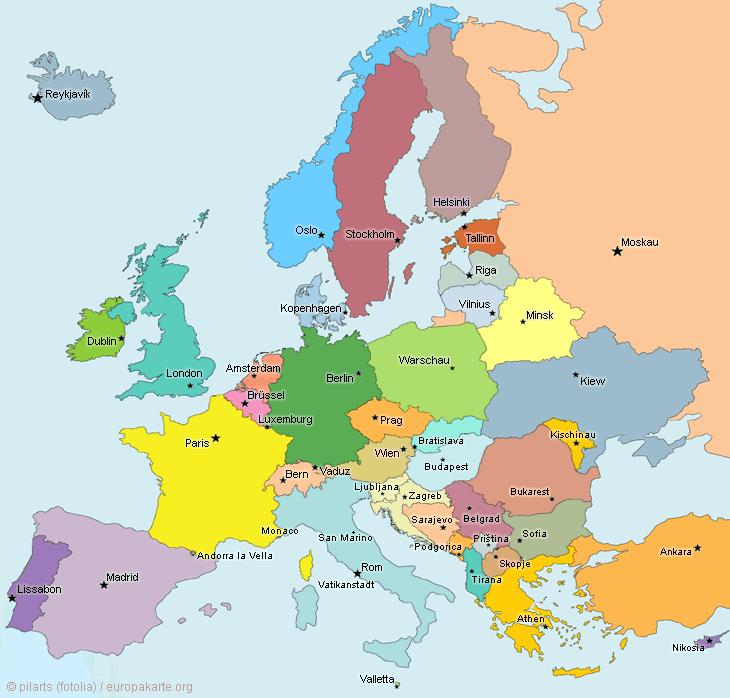 Europakarte: Hauptstädte in Europa
