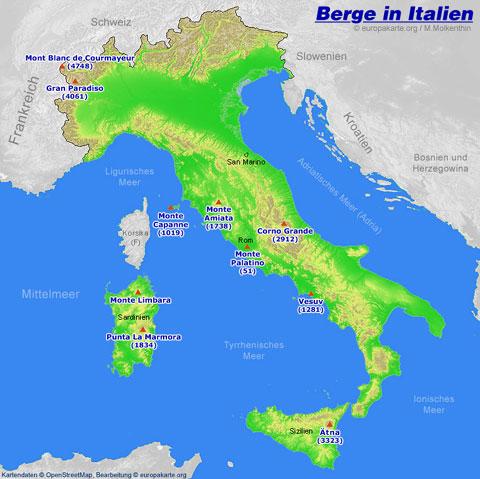Berge In Italien Karte Mit Den Italienischen Bergen