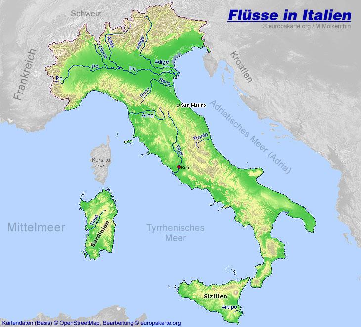 Flusse In Italien Karte Mit Den Italienischen Flussen