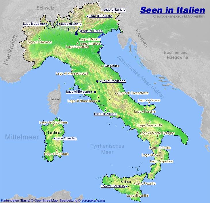 Seen In Italien Karte Mit Den Italienischen Seen