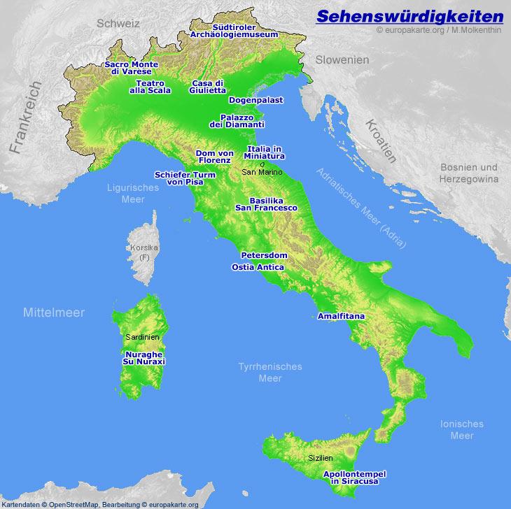Sehenswurdigkeiten In Italien Karte Mit Italienischen