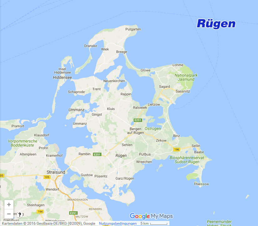 Rugen Karte Landkarte Von Rugen Mit Stadten Halbinseln Und Mehr