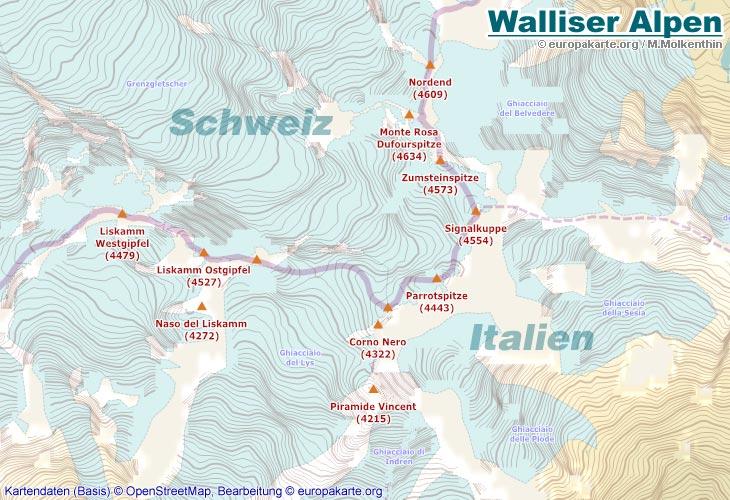Berge in Europa - Karte der höchsten Berge Europas